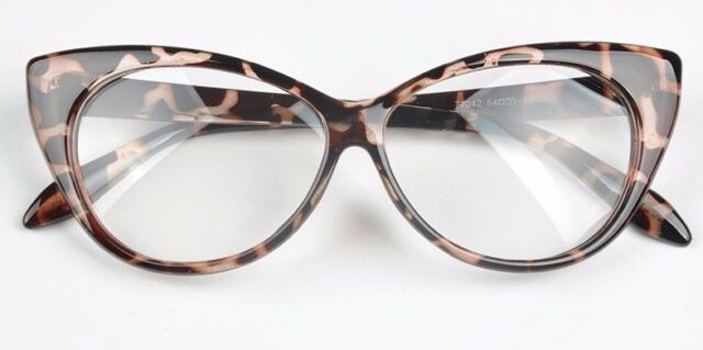 934816bd62 Leopard VTG 50s 60s Style Clear Lens Cat Eye Office Retro Rockabilly Glasses