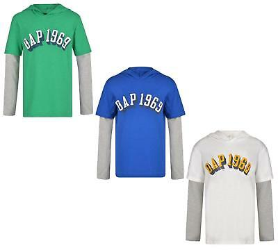 BOYS LONG SLEEVE HOODED T SHIRT GAP 1969 TOP EX STORE 4-13 YEARS BRAND NEW