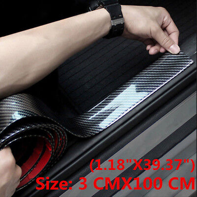 Car Carbon Fiber Rubber Edge Guard Strip Door Sill Protector Accessories 1M
