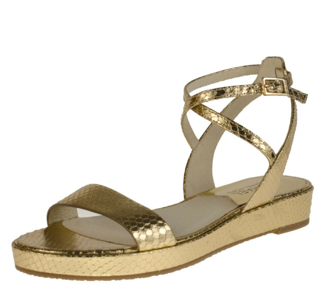 80359a069d1 MICHAEL KORS KAYLEE FLAT METALLIC PALE GOLD WOMENS OPEN TOE SHOES MULTI  SIZES