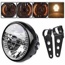 "New Universal 7"" Motorcycle Headlight LED Turn Signal Light+Mount Bracket Black"