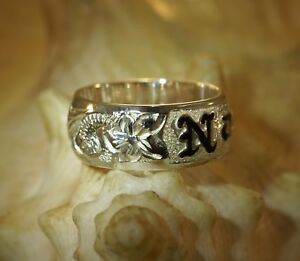 925 sterling silver custom made personalized name black enamel Hawaiian heirloom 6mm pendant