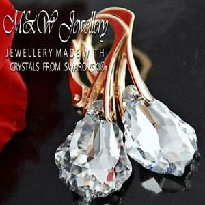 Rose-Gold-Pl-925-Silver-Earrings-Crystals-From-Swarovski-BAROQUE-Crystal-Cal