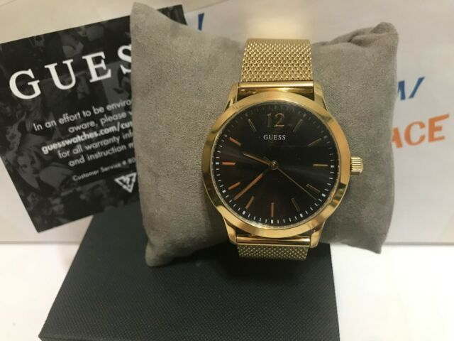 All Mens Sale Guess >> Guess Men S U0921g3 Dressy Gold Tone Watch With Black Dial And Mesh Band