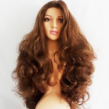 Cappuccino Brown Heavy Density Long Curly Synthetic Lace Front Wig 28""