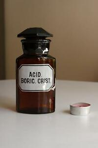 Acid Cri.rund Mit 4 Kanten,alt,emailliert Aufrichtig Apothekerflasche Boric Form Selten