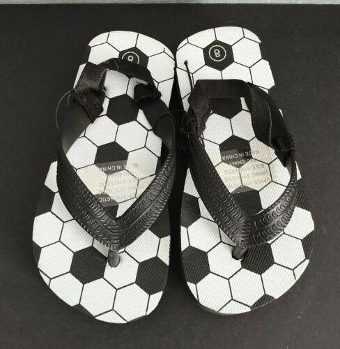 BNWOT Little Boys Sz 8 Cute Sling Back Black White Soccer Print Beach Thongs