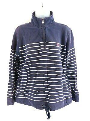 Nuova Moda Crew Clothing Da Donna Maglione Pullover 12 Viola Righe Bianche Cotone 1/4 Zip-mostra Il Titolo Originale