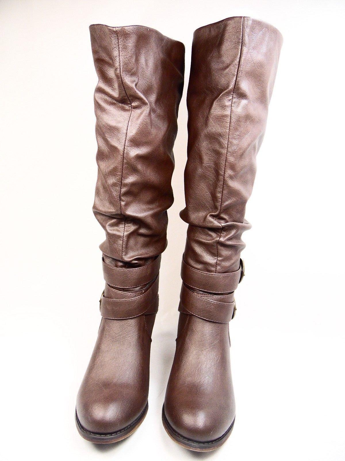 Journee Collection Late Wide Dark Calf Women Round Toe Dark Wide Brown Size 7 459e88