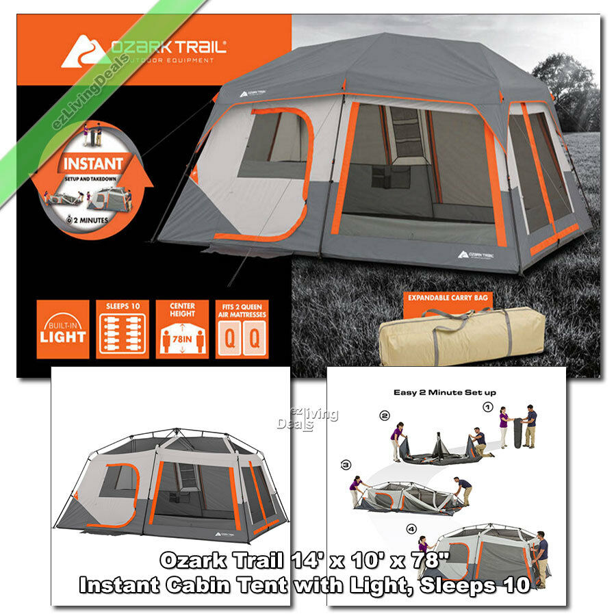 Ozark Trail 10 Person Family Tent 2 Room 14 X 10 Instant