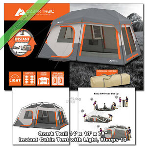 Image is loading Ozark-Trail-10-Person-14-039-x-10- & Ozark Trail 10 Person 14u0027 x 10u0027 Instant Cabin Tent 2 Room Outdoor ...