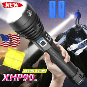 250000lm Powerful XHP90 LED Flashlight USB Rechargeable Torch Hunting Lamp 26650