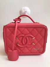 db86af4cb917 Chanel CC Filigree Caviar Vanity Case Small Bag Peach Pink Coral GHW