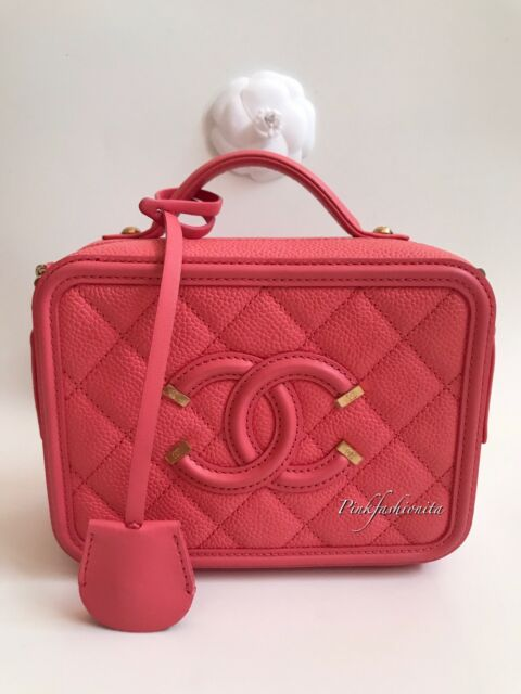 28f95842013389 Chanel CC Filigree Caviar Vanity Case Small Bag Peach Pink Coral GHW ...