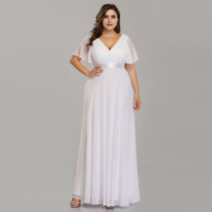 Details about Ever-Pretty US Plus Size White V-neck Evening Dress  Bridesmaid Dress Long 09890