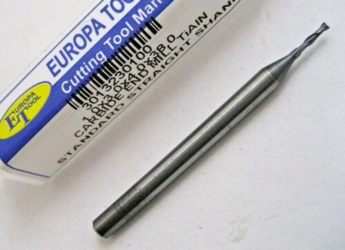 1mm CARBIDE 2 FLUTED TiALN COATED SLOT DRILL MILL EUROPA TOOL 3013230100  94
