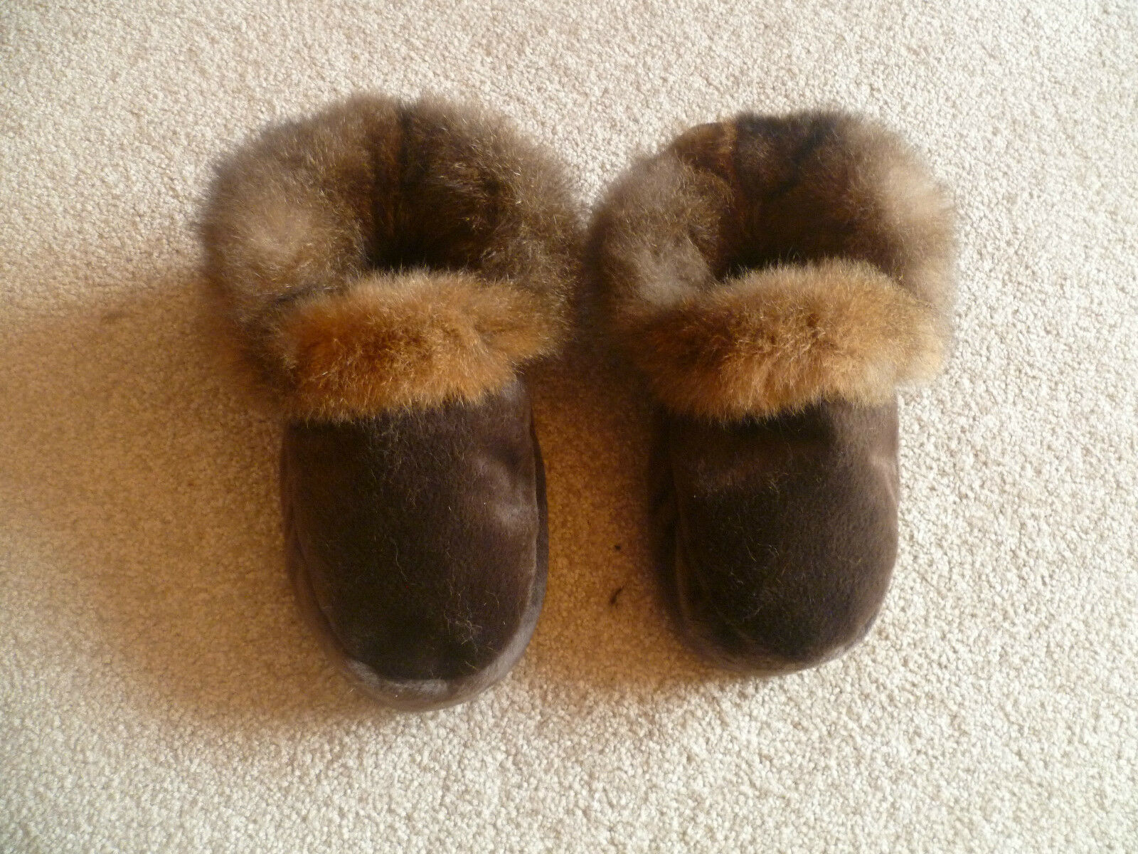 nouveau Zealand Possum Fur Moccasin Style Slippers with Soft cuir Sole