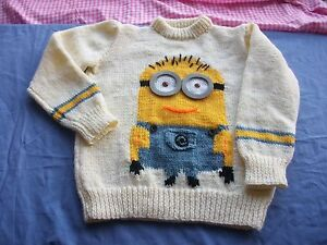 Minion-style-jumper-sweater-pullover-Knitting-pattern-DK-6-sizes-boy-girl