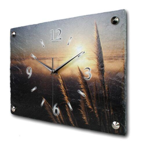 Sonnenuntergang Designer Funk Wanduhr leise Funkuhr aus Schiefer Kreative Feder