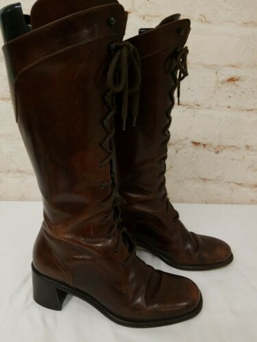 Joan & David Italy Brown Tall Lace Up Boots Sz 8 M