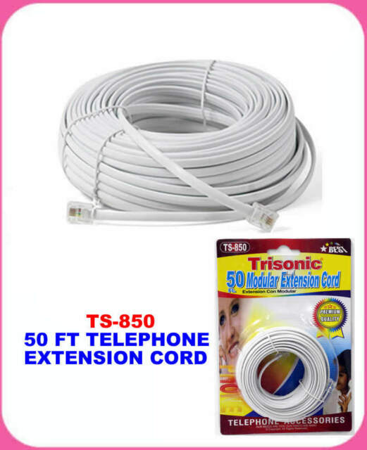 50/'  50 Feet 50ft WHITE 50 Foot Modular Telephone Coiled Handset Cord Phone