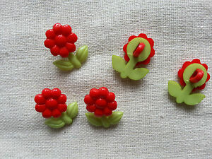 6 x Buttons Kids Clothing KnittingSewing Card Making Red Flower - Birmingham, United Kingdom - 6 x Buttons Kids Clothing KnittingSewing Card Making Red Flower - Birmingham, United Kingdom