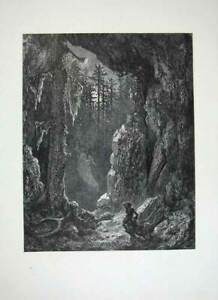 Original-Old-Antique-Print-1870-Dore-Gallery-Fine-Art-Atala-Chateaubriand-Woods