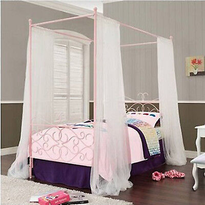 Bed Frame Twin Size Canopy Metal Pink Princess Girls Kids