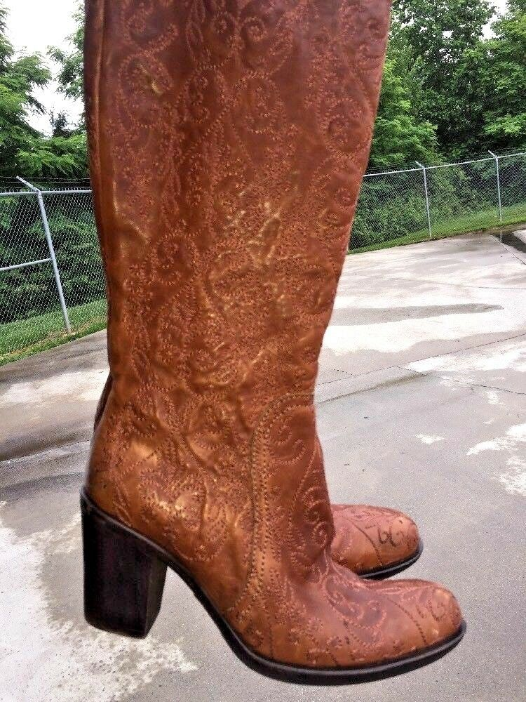 APEPAZZA Paisley Knee High Cowboy Runway Model Boots Leather Womens Sz 7 7