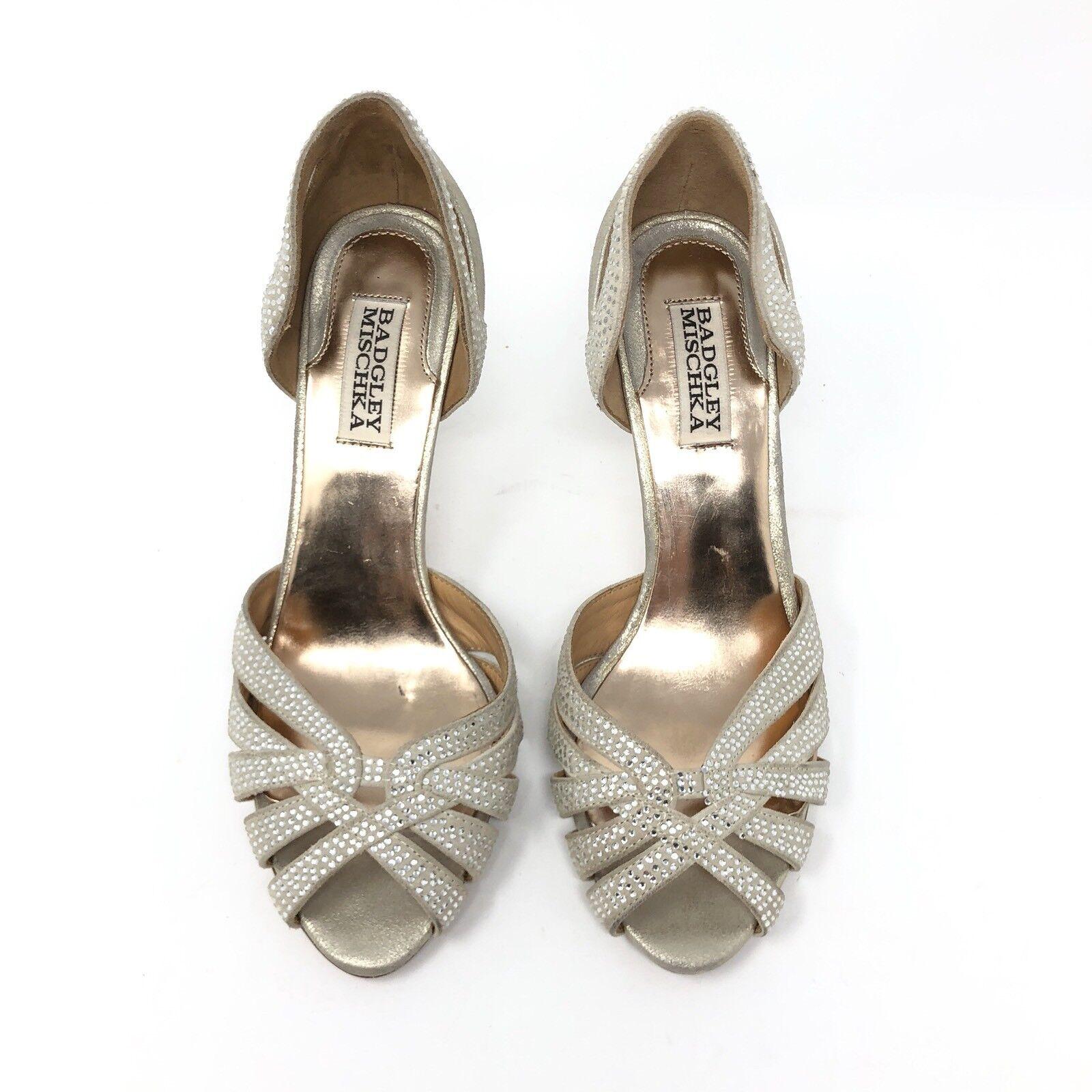 Badgley Mischka Peep Tatiana Gold Jewels D'Orsay Peep Mischka Toe Heels Bridal Damens Größe 7.5 3c0b0a