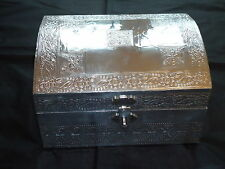 Silver Large Jewellery Chest Box Embossed Indian Hand Made  Nice Gift