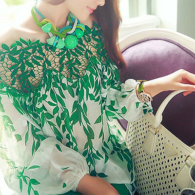 Women's Chiffon Tops Casual Blouse Long Sleeve Boat Neck T-shirt Sanwood