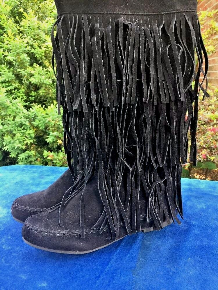 Minnetonka Moccasin Fringe American Indian POW WOW BOOTS Damenschuhe Schuhes Sz 8.5