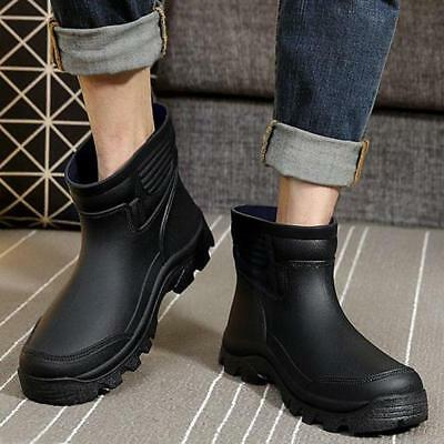 Mens Waterproof Rubber Ankle Pull On Rain Boots Fishing Outdoor Pumps New Shoes