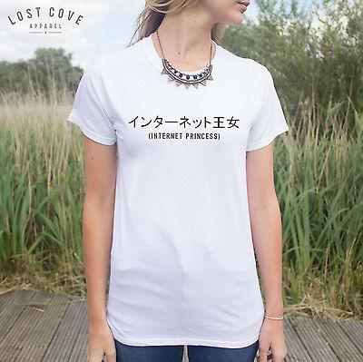 * Internet Princess T-shirt Top Japanese Blogger Slogan Teen Fan Girl Fashion *