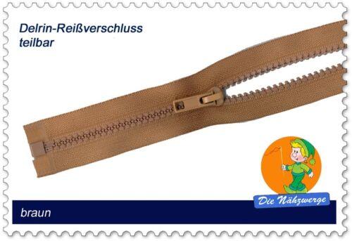 Kunststoff Reißverschluss Zipper aushängbar 50-80 cm Delrin Krampe 6mm teilbar