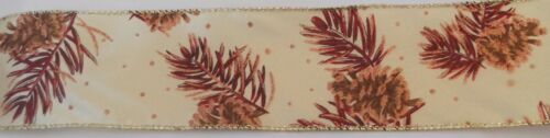 """SATIN  FALL RIBBON 2 1//2/""""  WITH PINE CONES 3 YD ROLL CRAFTS,SCRAPEBOOK,BOWS"""