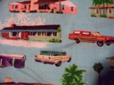 HOLLYWOOD 50/'S CARS /& HOUSES VINTAGE HOMES CAR BLUE COTTON FABRIC BTHY