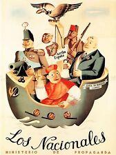 Propaganda di guerra fascista ANTI COMUNISTA civile Spagnola Spagna retrò poster pubblicitario 2621py