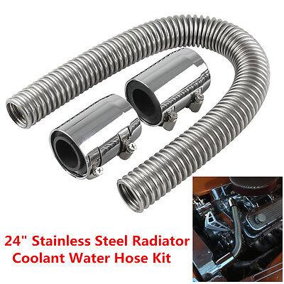 "Caps Flexible 24/"" Chrome Stainless Steel Radiator Flex Coolant Water Hose Kit"