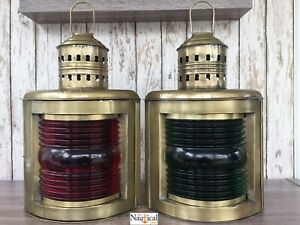 14-034-Antique-Brass-Finish-Port-amp-Starboard-Lanterns-Ship-Oil-Lamp-Nautical