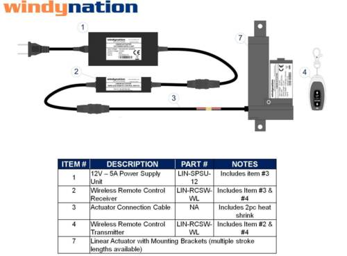 Remote Control WindyNation 12 Volt Linear Actuator Brackets Power Supply