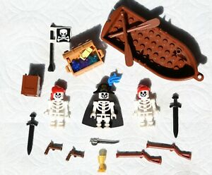 LEGO-Minifigures-Skeleton-Pirates-boat-Toys-Army-Guns-Swords-Muskets-Minifigs