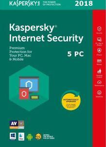 Kaspersky Internet Security 2018 Multi-dispositivo 5 Utilizzatori 1 anno Licenza