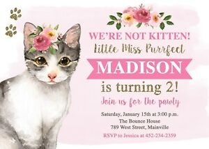 Cat Kitten Kitty Birthday Party Invitation Floral Printable Or