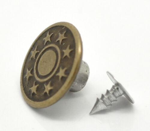 cuivre étoile en métal 20 sets 17mm Boutons pression pour jeans vieux bronzé