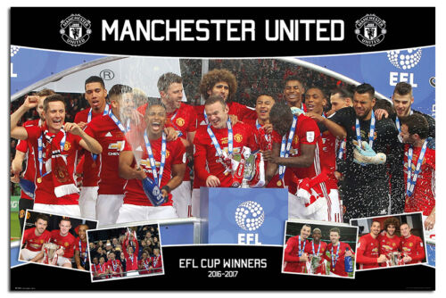 Maxi Size 36 x 24 Inch Manchester United EFL Cup Winners 2017 Poster New