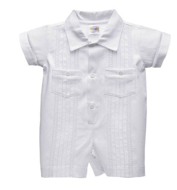 White Short Rompers for Baby Boys Toddler Christening Baptism Outfits 0M-30M Hat