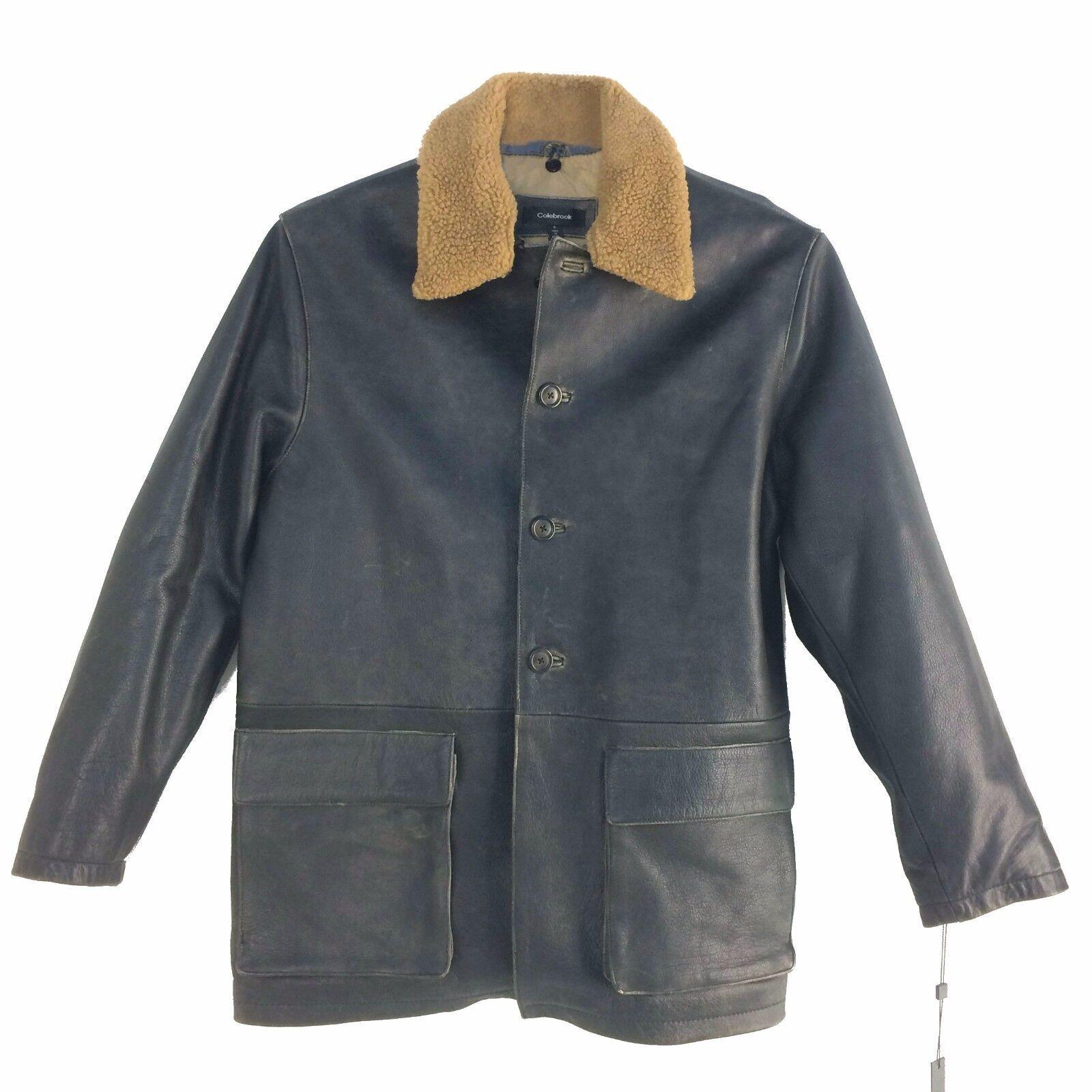 M40921 Colebrook, Vintage, Men's 4 Buttons Distressed Leather 3 4 Length Coat