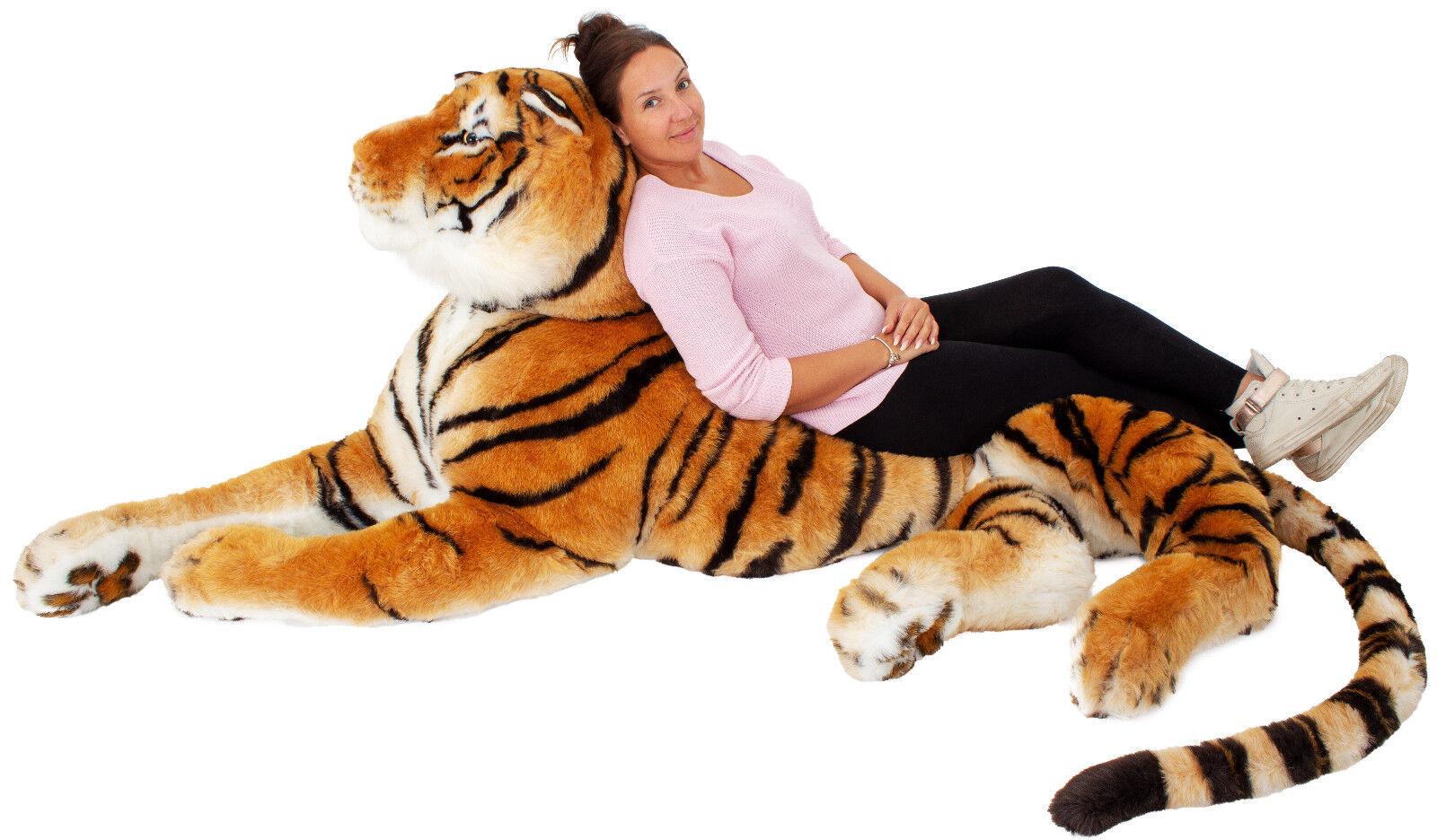 BRUBAKER XXL Plüschtier Plüsch Tiger Braun 220cm Kuscheltiger Plüschtiger riesig